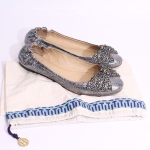 Tory Burch Metallic Ballet Slippers Bow 8M
